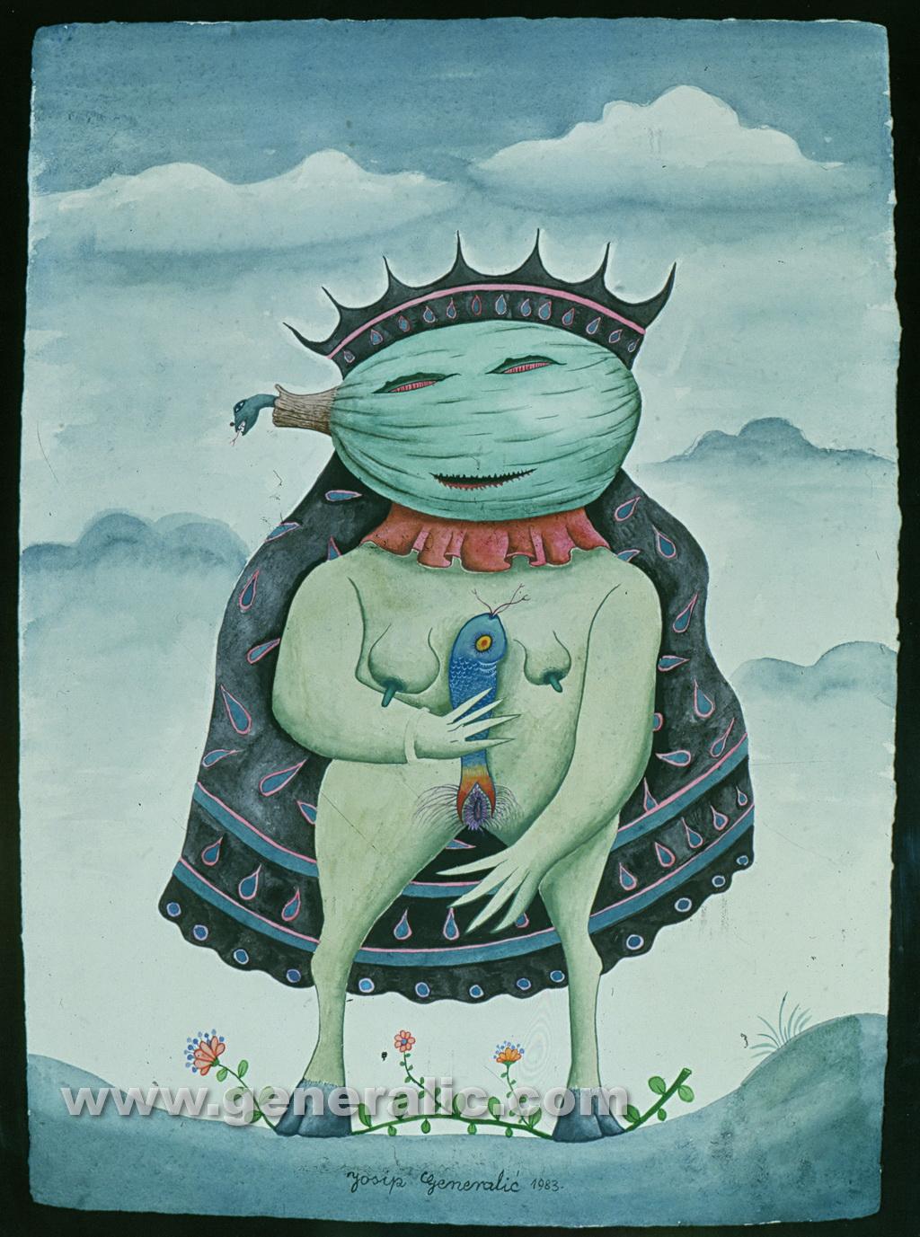Josip Generalic, 1983, Devil's bride, watercolour