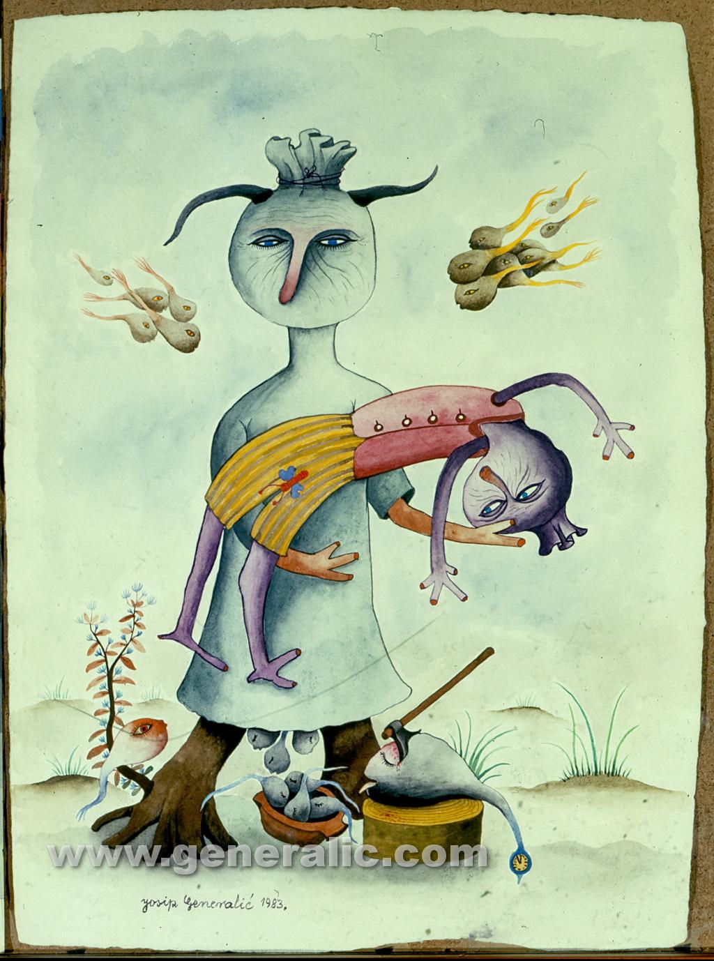 Josip Generalic, 1983, Puppets with fish, watercolour