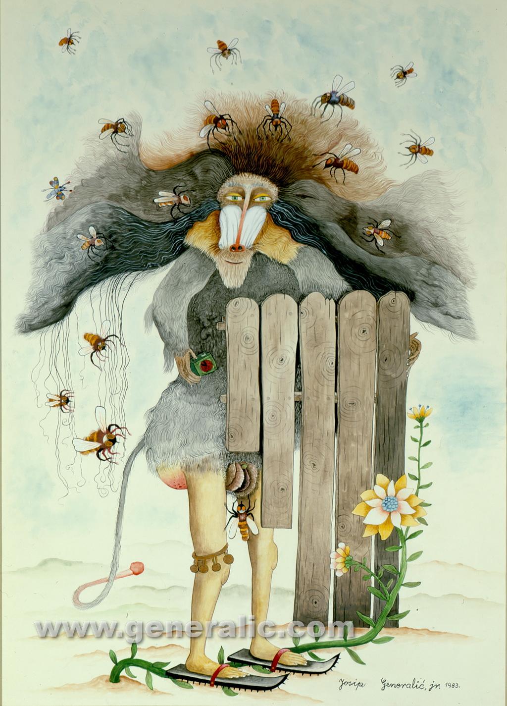 Josip Generalic, 1983, Ugliness alergic to bees, watercolour