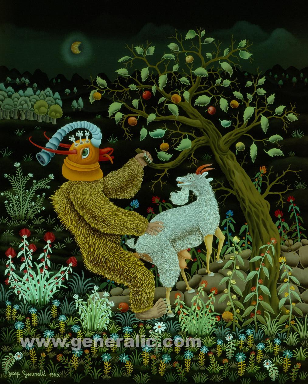 Josip Generalic, 1985, Goats pleasant surprise, oil on glass, 80×100 cm