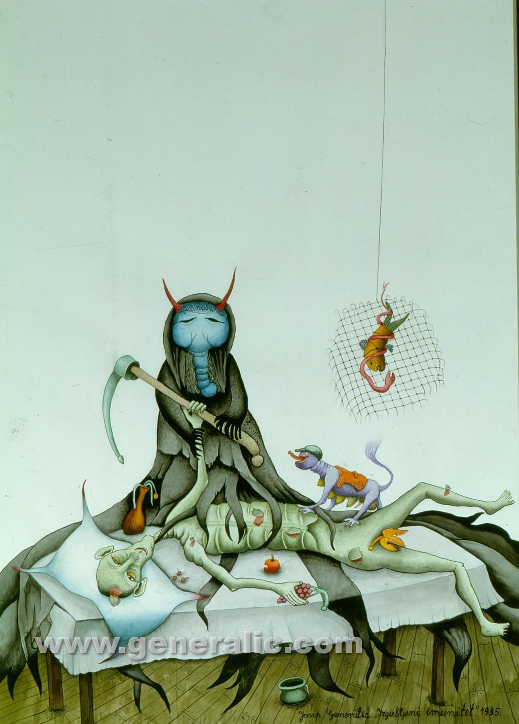 Josip Generalic, 1985, Lost immunity, watercolour