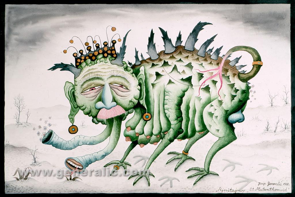 Josip Generalic, 1986, Einsteins 21st Mutanthomoid, watercolour