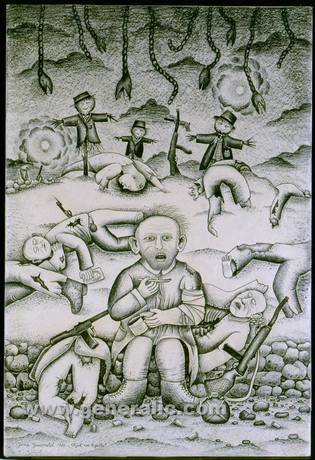 Josip Generalic, 1986, Meal on the field, drawing