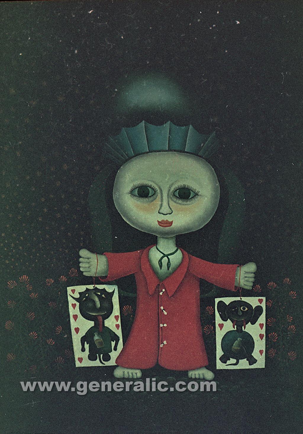 Josip Generalic, 1988, A puppet, oil on glass