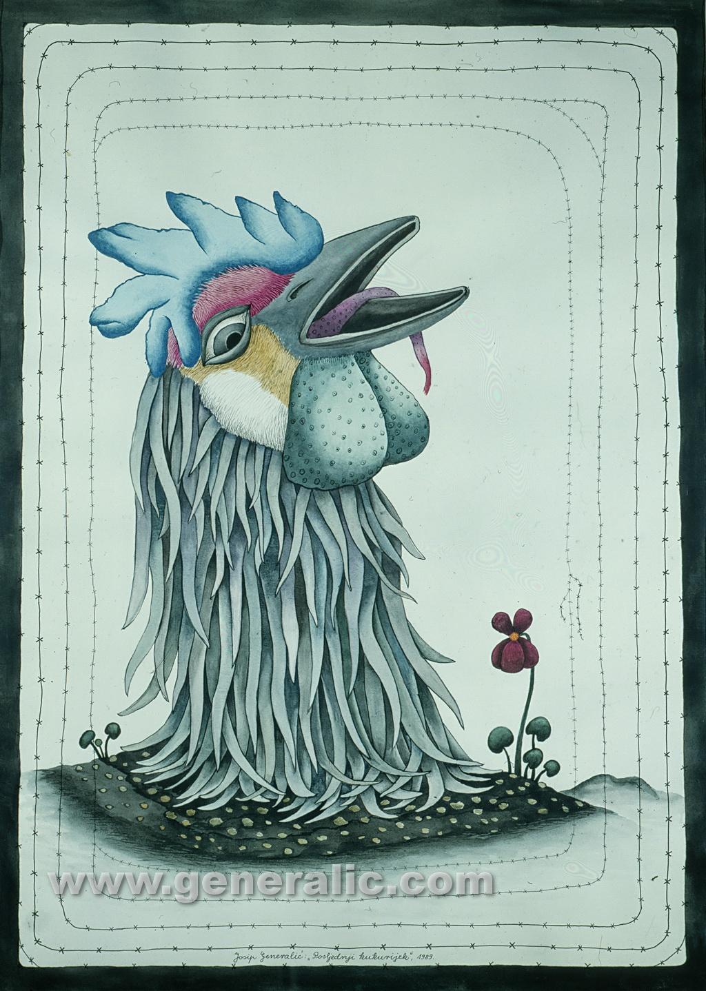 Josip Generalic, 1989, Rooster, watercolour