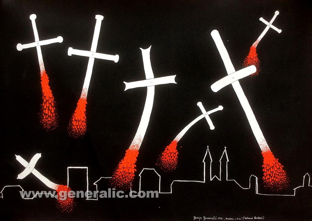Josip Generalic, 1991, Croatia in blood - Crosses on fire, acrylic on paper, 100x70 cm