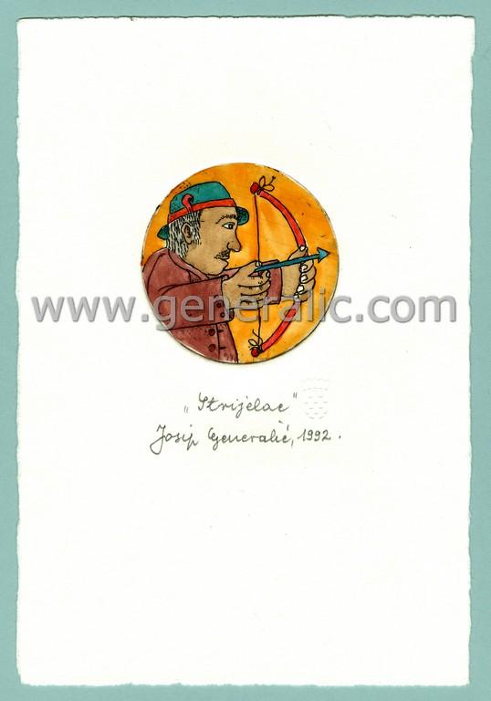 Josip Generalic, JG-H02-02, Zodiac - Sagittarius with bow, water-coloured etching, 20x13 cm Ø 6 cm, 1992 - 100 eur