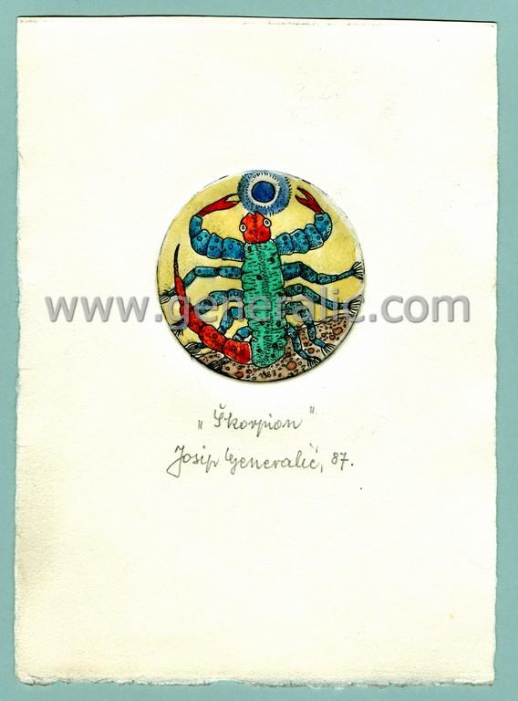 Josip Generalic, JG-H02-05, Zodiac - Scorpio, water-coloured etching, 19x13 cm Ø 6 cm, 1987 - 100 eur