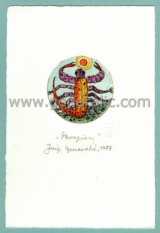 Josip Generalic, JG-H02-06, Zodiac - Scorpio, water-coloured etching, 20x13 cm Ø 6 cm, 1987 - 100 eur