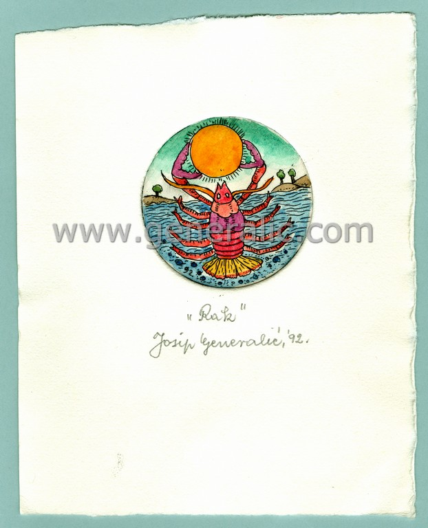 Josip Generalic, JG-H02-08, Zodiac - Cancer, water-coloured etching, 17x14 cm Ø 6 cm, 1992 - 100 eur