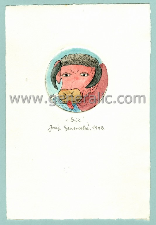Josip Generalic, JG-H02-11, Zodiac - Taurus, water-coloured etching, 20x13 cm Ø 6 cm, 1992 - 100 eur