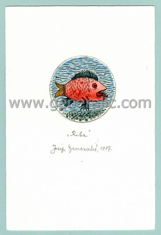 Josip Generalic, JG-H02-12, Zodiac - Pisces, water-coloured etching, 20x13 cm Ø 6 cm, 1987 - 100 eur