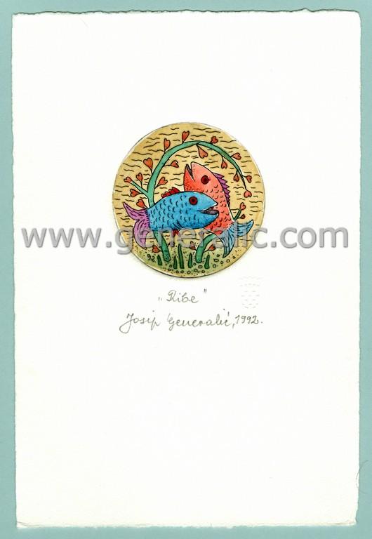 Josip Generalic, JG-H02-13, Zodiac - Pisces, water-coloured etching, 20x13 cm Ø 6 cm, 1992 - 100 eur