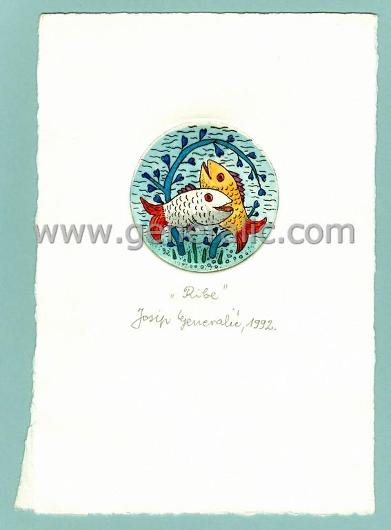 Josip Generalic, JG-H02-15, Zodiac - Pisces, water-coloured etching, 20x13 cm Ø 6 cm, 1992 - 100 eur