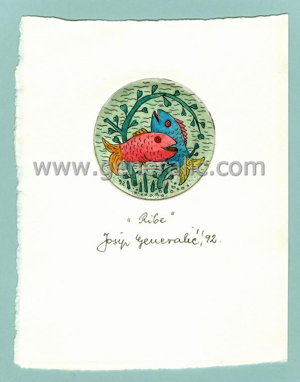 Josip Generalic, JG-H02-16, Zodiac - Pisces, water-coloured etching, 17x13 cm Ø 6 cm, 1992 - 100 eur