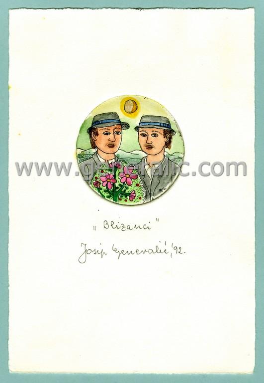 Josip Generalic, JG-H02-17, Zodiac - Gemini, water-coloured etching, 20x13 cm Ø 6 cm, 1992 - 100 eur