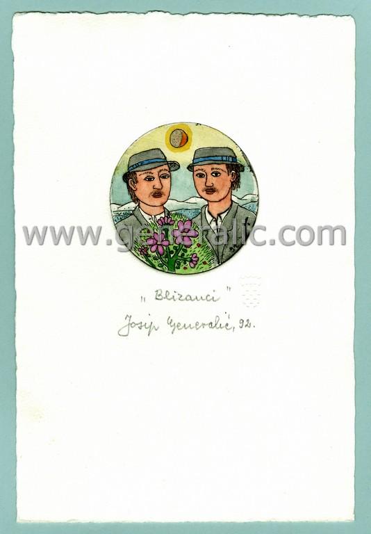 Josip Generalic, JG-H02-18, Zodiac - Gemini, water-coloured etching, 20x13 cm Ø 6 cm, 1992 - 100 eur