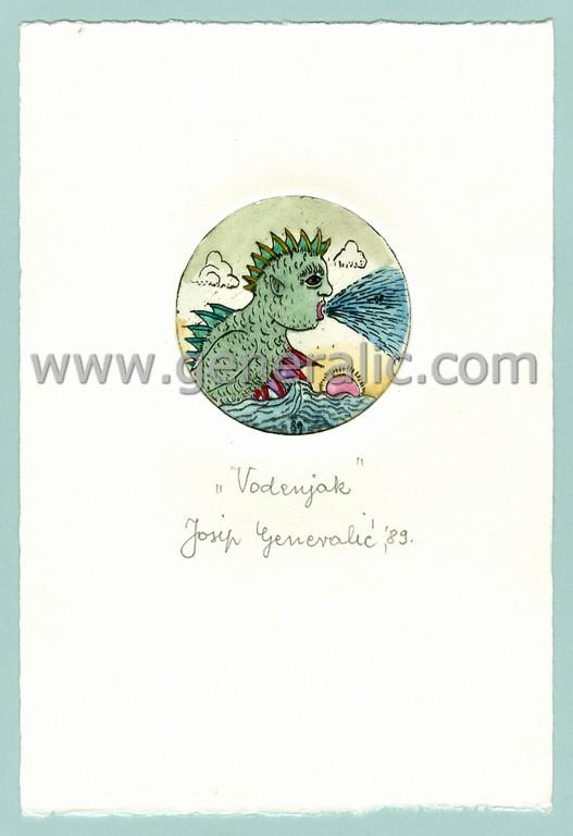 Josip Generalic, JG-H02-19, Zodiac - Aquarius, water-coloured etching, 20x13 cm Ø 6 cm, 1989 - 100 eur