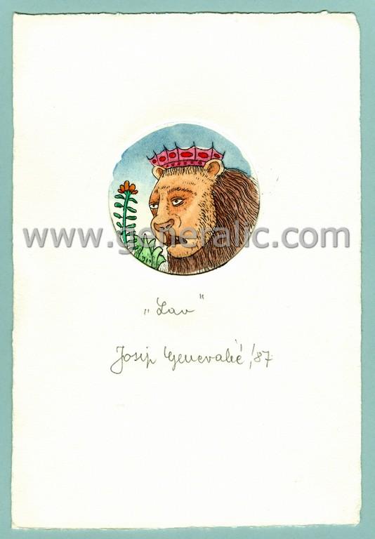 Josip Generalic, JG-H02-21, Zodiac - Leo, water-coloured etching, 20x13 cm Ø 6 cm, 1987 - 100 eur