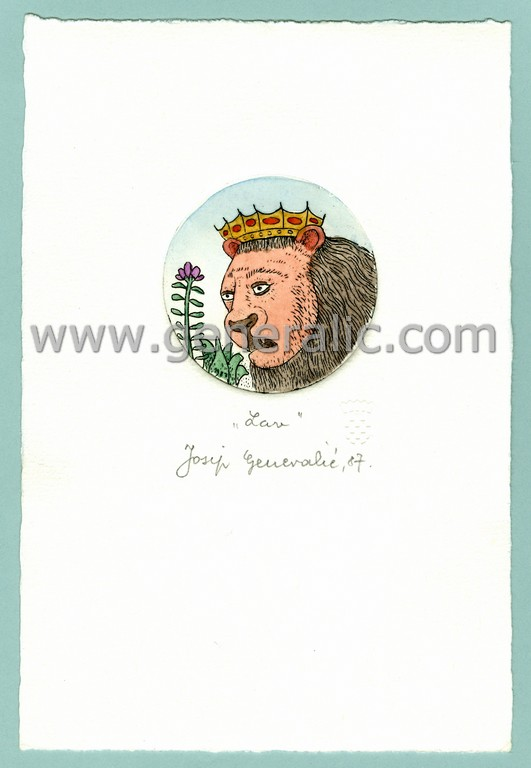 Josip Generalic, JG-H02-22, Zodiac - Leo, water-coloured etching, 20x13 cm Ø 6 cm, 1987 - 100 eur