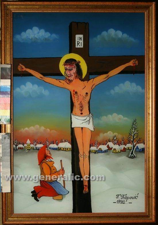 Franjo Filipovic (1930-2009), Jesus, oil on glass, 1992, 60x40 cm, 2000 eur