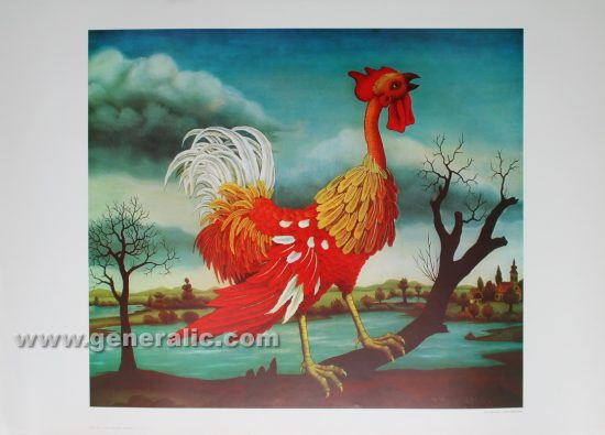 Ivan Generalic, Rooster, reproduction, 1966, 50x70 cm 43x50cm - Price 30 eur