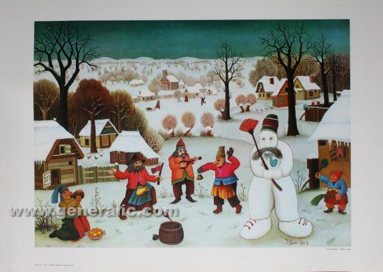 Ivan Generalic, Snowman, reproduction, 1969, 50x70 cm 40x56 cm - Price 30 eur