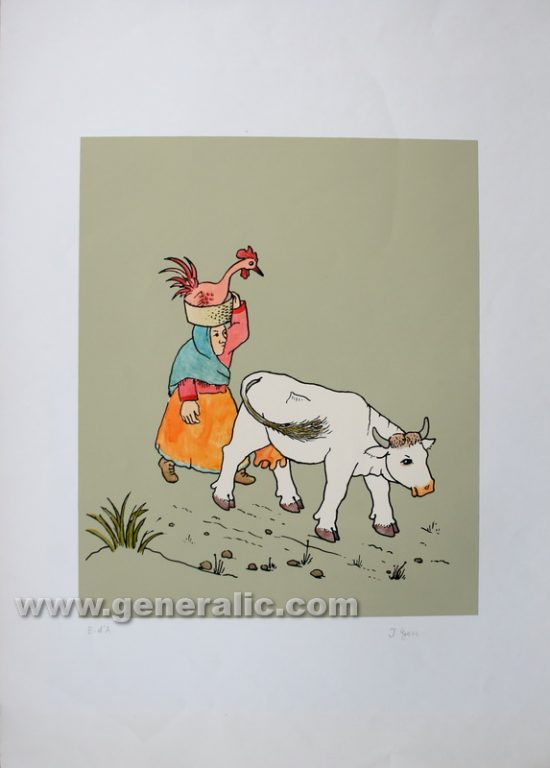Ivan Generalic, Woman with a cow, serigraphy, water-coloured