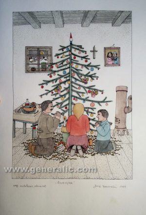 Josip Generalic - Christmas - water-coloured graphic - 50x35 cm - 37x26 cm - 1989 - JG-L02-02 - Božiæ - 200,00 eur