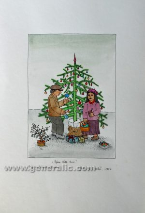 Josip Generalic JG-L06-01 Djeca kite bor Children with Christmas tree water-coloured serigraphy 50 x 35 cm 28 x 20 cm 1984 - 200,00 EUR