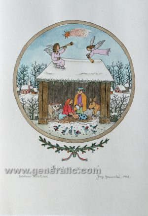 Josip Generalic JG-L24-01 Narodil se kralj nebeski Christmas - The King is born water-coloured serigraphy 50 x 35 cm 33 x 29 cm 1992 - 200,00 EUR