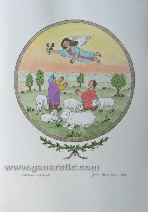 Josip Generalic JG-L25-01 Oj pastiri èudo novo Christmas - Angel with Shepherds water-coloured serigraphy 50 x 35 cm 35 x 28 cm 1992 - 200,00 EUR