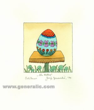 JG-O10-27 Josip Generalic, Easter egg with flowers, water-coloured serigraphy, 25x25 cm, 1994
