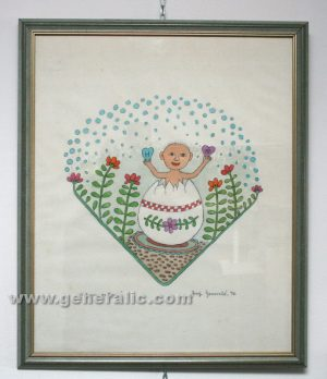 Josip Generalic JG-O10-50 Uskrsno roðenje Birth on Easter water-coloured graphic 49x40 cm 31x30 cm 1996 150,00 EUR
