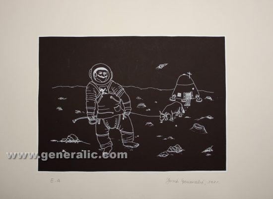 Josip Generalic JG-P05-01 Imbro kolonizira Mjesec Imbro colonizing the Moon serigraph in colour 44x63 cm 28x39 cm 1981 =300,00 EUR