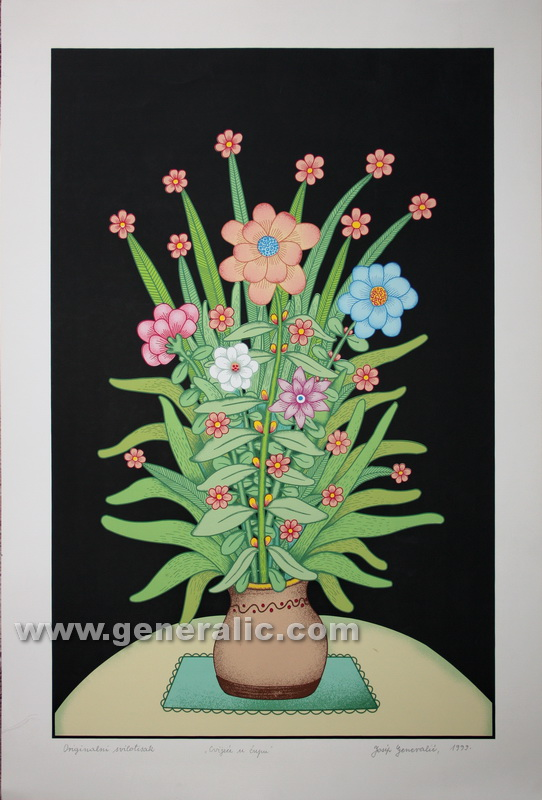 Josip Generalic JG-P06-01 Cvijeæe u æupu (crno) Flowers with black background serigraph in colour 70x47 cm 38,5x60 cm 1999 =700,00 EUR