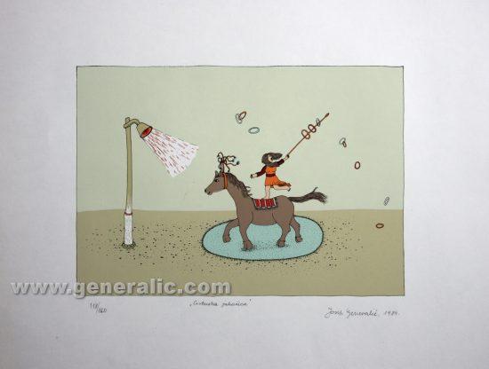 Josip Generalic JG-R01-01 Cirkuska jahaèica Circus horse rider serigraph in colour 50x70 cm 25 x 35 cm 1984 =250,00 EUR