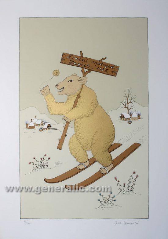 Josip Generalic JG-R04-01 Zlatni medvjed (19/140) Golden bear serigraphy in colour 50x35 cm 41x26 cm 1985 250,00 EUR