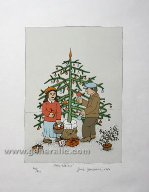 Josip Generalic JG-S03-01 Djeca kite bor Children decorating a tree serigraphy in colour 68x47 cm 29x20 cm 1984 =200,00 EUR