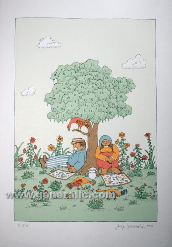 Josip Generalic JG-S07-01 Odmor pod šljivom Resting under plum tree serigraphy in colour 49,5x35 cm 40x28 cm 1985 200,00 EUR