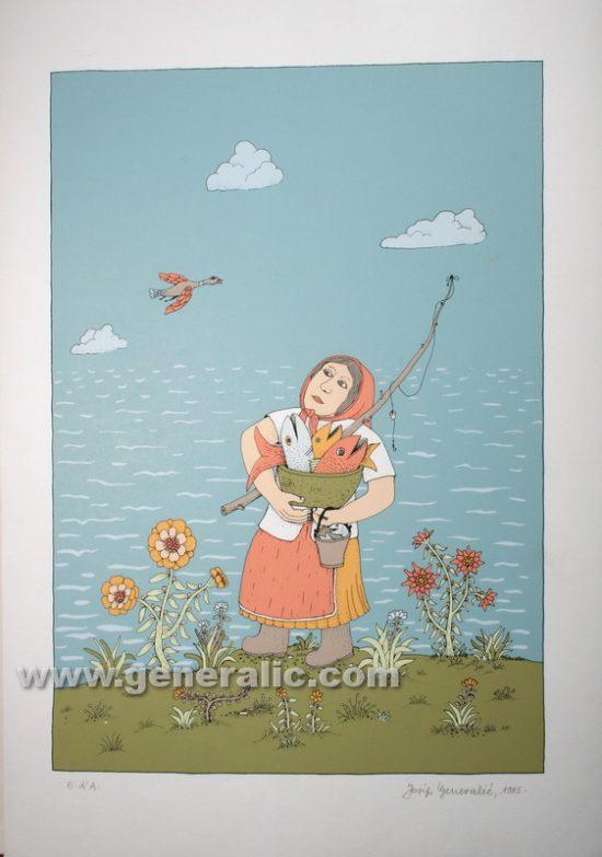 Josip Generalic JG-S09-01 Ribarica Fisherwoman serigraphy in colour 50x34 cm 40x28 cm 1985 200,00 EUR