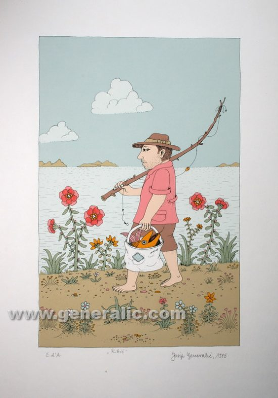 Josip Generalic JG-S10-01 Ribiè Fisherman serigraphy in colour 49x34 cm 34x22 cm 1985 200,00 EUR