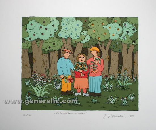 Josip Generalic JG-S11-01 Sa djevojkom u šumi With girlfriend in a forest serigraphy in colour 34x49 cm 20x25 cm 1986 200,00 EUR