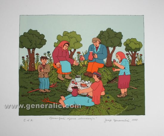 Josip Generalic JG-S12-02 Spravljaèi sijena odmaraju Hay gatherers are resting serigraphy in colour 35x50 cm 20x25 cm 1985 200,00 EUR
