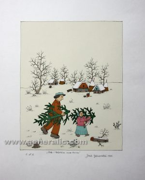 Josip Generalic JG-S13-01 Tata i kæerkica s borovima Father and girl carrying trees serigraphy in colour 64x49 cm 33x26 cm 1984 =200,00 EUR