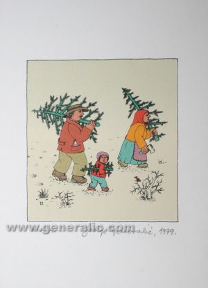 Josip Generalic JG-T01-01 Obitelj s borovima Family with X-mas trees serigraphy in colour 21x15 cm 11x10 cm 1979 50,00 EUR