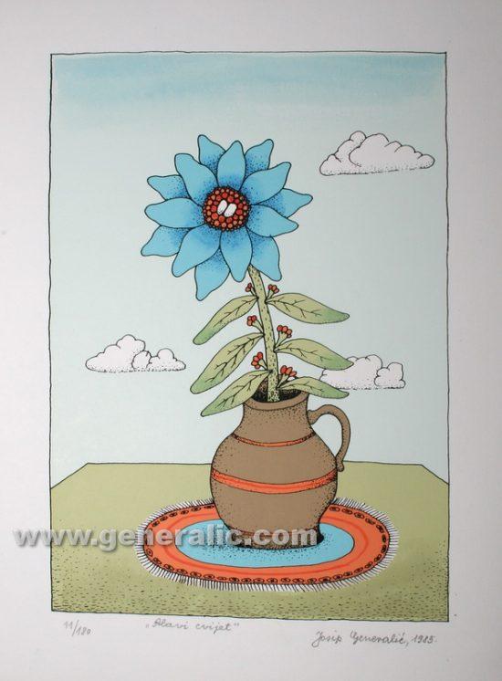 Josip Generalic JG-T02-01 Plavi cvijet Blue flower serigraphy in colour 30x23 cm 24x17 cm 1985 120,00 EUR