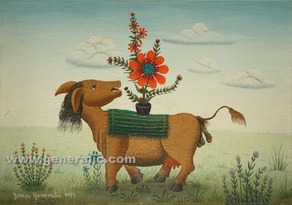 Josip Generalic, 1977, Mutant with flowers, 30x42cm, oil on canvas, 1.000 eur