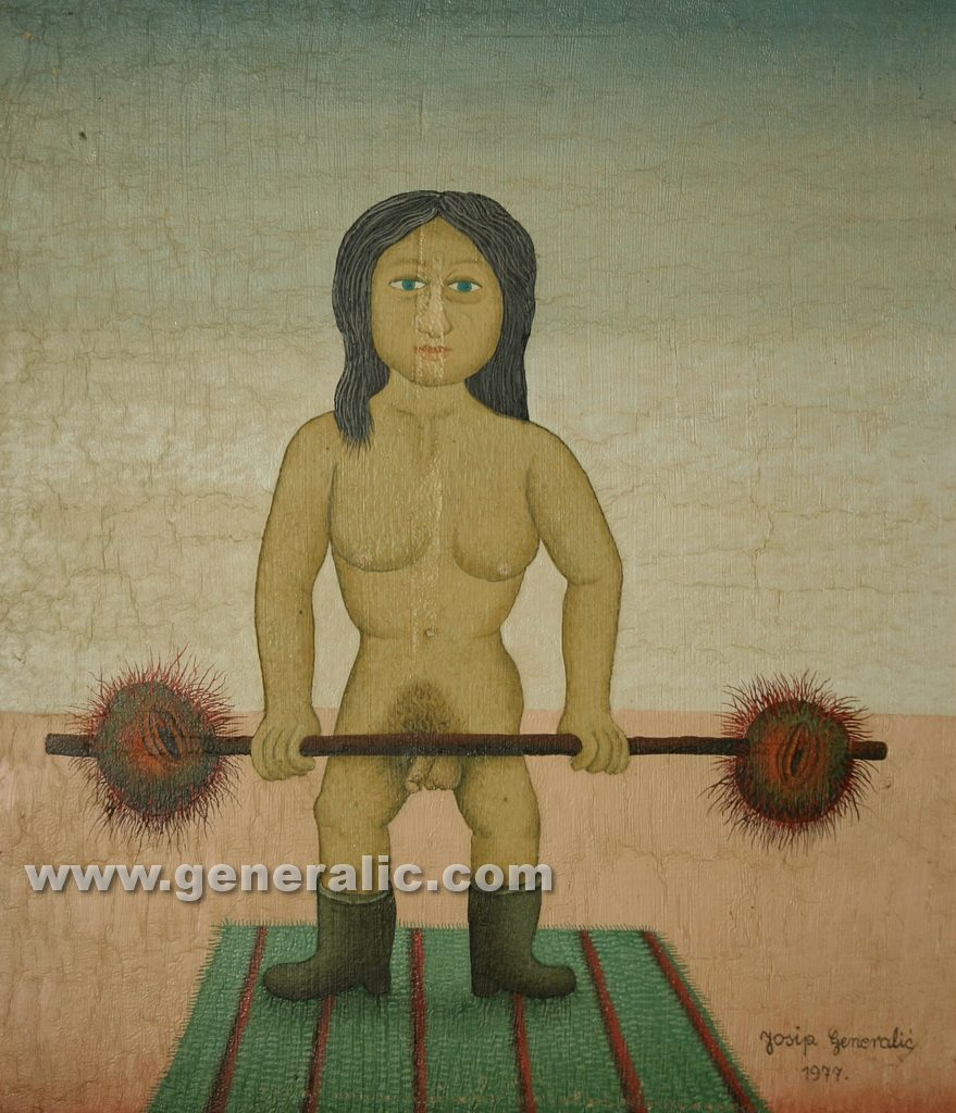 Josip Generalic, 1977, Mutant body builder, 36x31cm, oil on canvas 1.000 eur