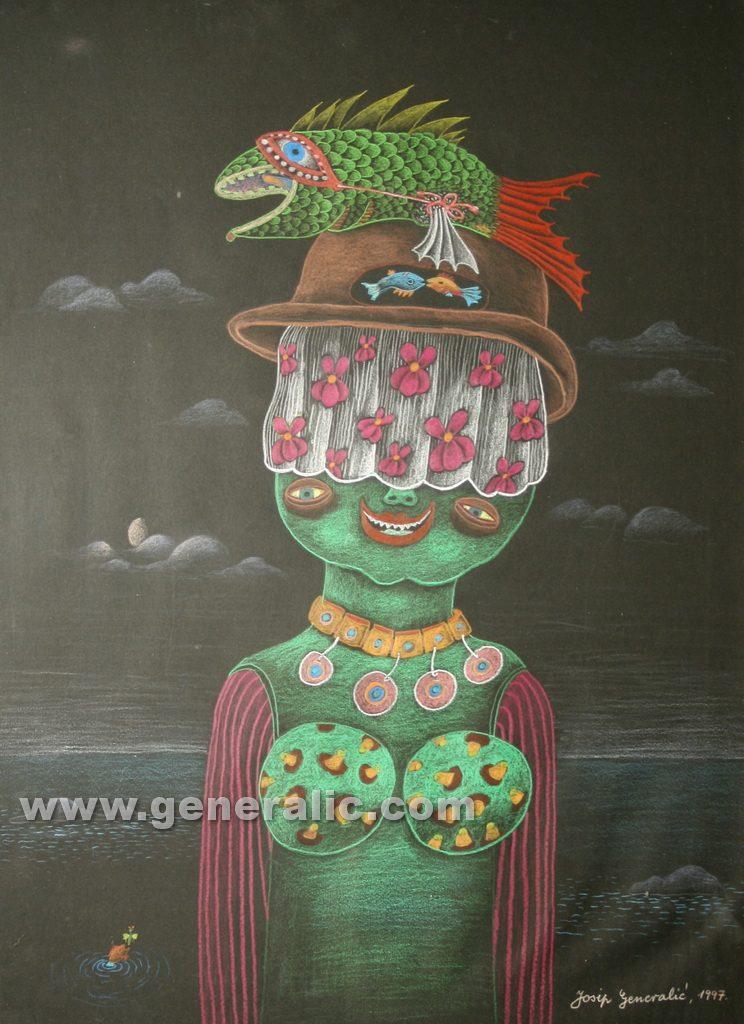 Josip Generalic, 1997, Green monster, 64x47cm, pastel, 500 eur